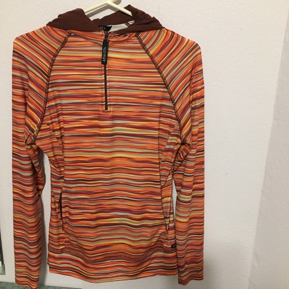 027a869c0 Athleta Tops | Fitted Pullover Hoodie Sz Med Fun Colors | Poshmark